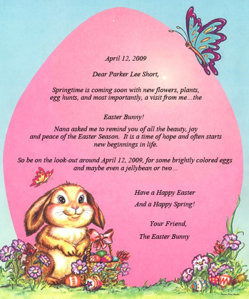 Letter From The Easter Bunny  StoryisyoursCom